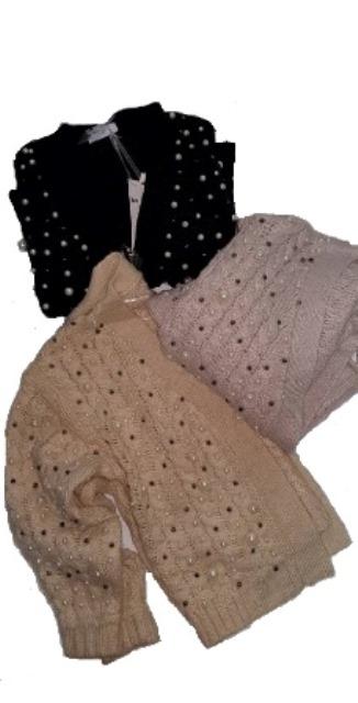 9ba15bdabdaf Vista Γυναικεία Πλεκτή Ζακέτα Με Πέρλες Και Strass - VistaBazaar