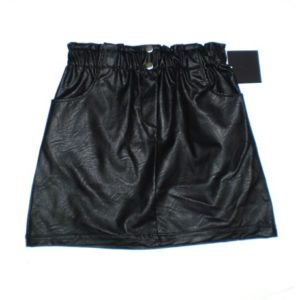 VistaBazaar Μαύρη Δερμάτινη Mini Φούστα Με Κουμπιά One Size