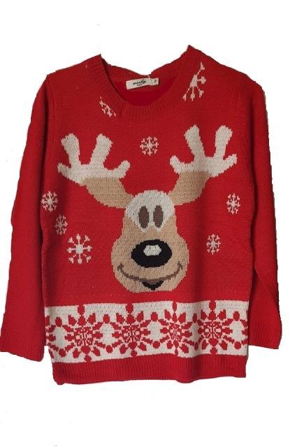 Πλεκτό ζακάρ πουλόβερ με χριστουγεννιάτικο μοτίβο.