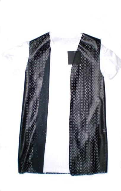 VistaBazaar Γυναικείο Γιλέκο Δερματίνη Και Μακό Μπλούζα O S ... e8bb3679c30